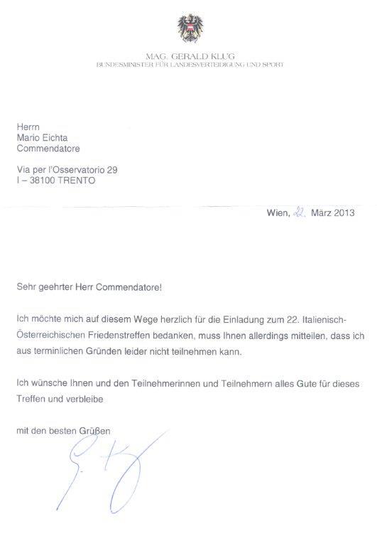 Risposta Ministro austriaco